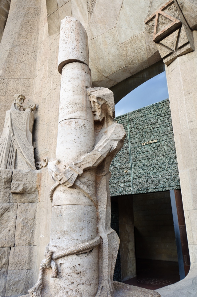 Jesus tied to a column. Sculpture at Sagrada Familia