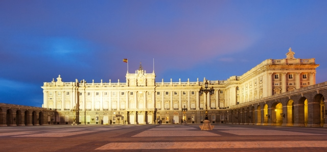 Night view of Royal Palace in Madrid