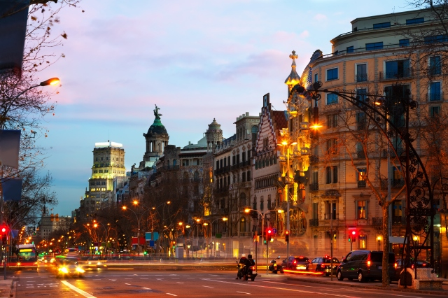 Passeig de Gracia  in winter dawn. Barcelona, Spain