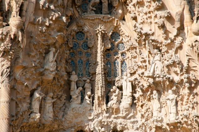 Sagrada Familia Basilica Front Facade Closeup - Barcelona - Spain