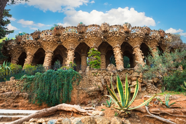 columns in Park Guell by Antoni Gaudi in Barcelona, Spain