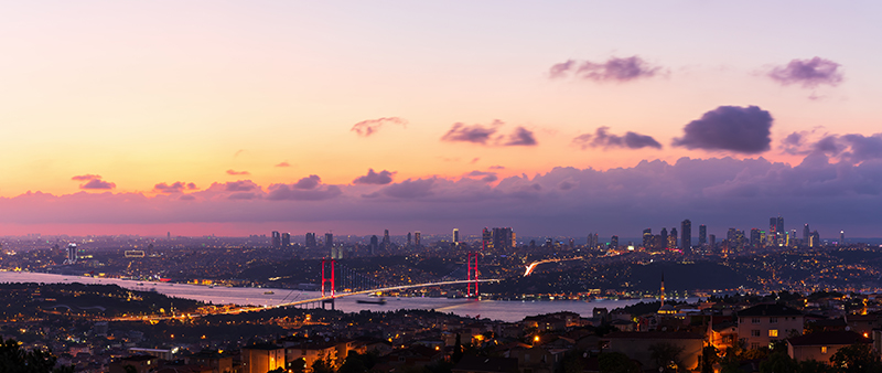 The Bosphorus Bridge and the night lights of Istanbul, aerial panorama
